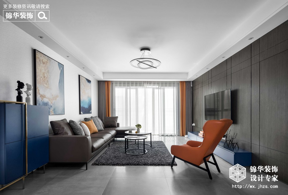 现代简约-华悦氿峰-两室两厅-177平-客厅-装修效果实景图