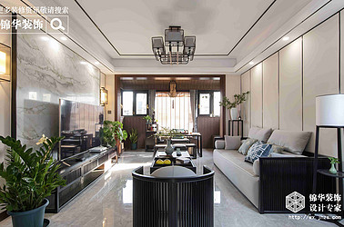 新中式风格-三室两厅-110平-装修效果实景图