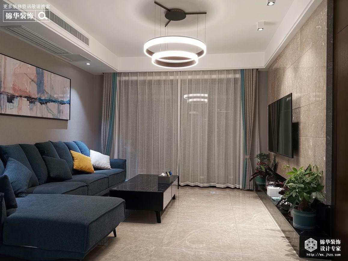 现代简约-绿城玉兰花园-三室两厅-142平-客厅-装修效果实景图