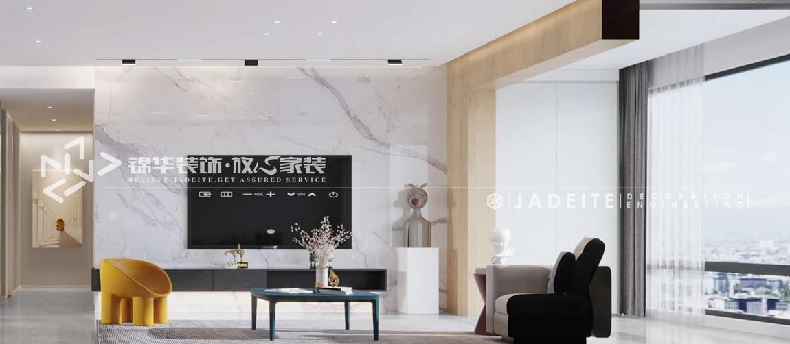 现代极简-碧桂园-四房两厅-180平-客厅-装修效果图
