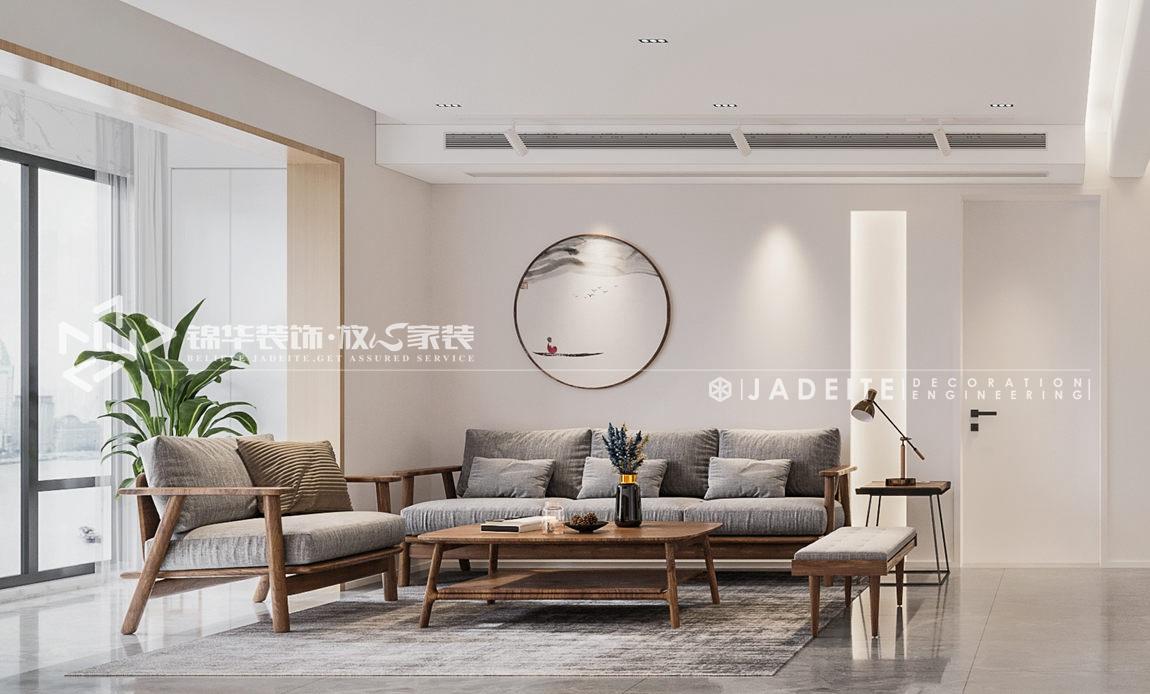 新中式风格-尚城国际-三房两厅-120平-客厅-装修效果图