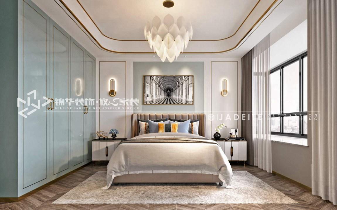 港式轻奢-扬子华都-三室两厅-140平-卧室-装修效果图
