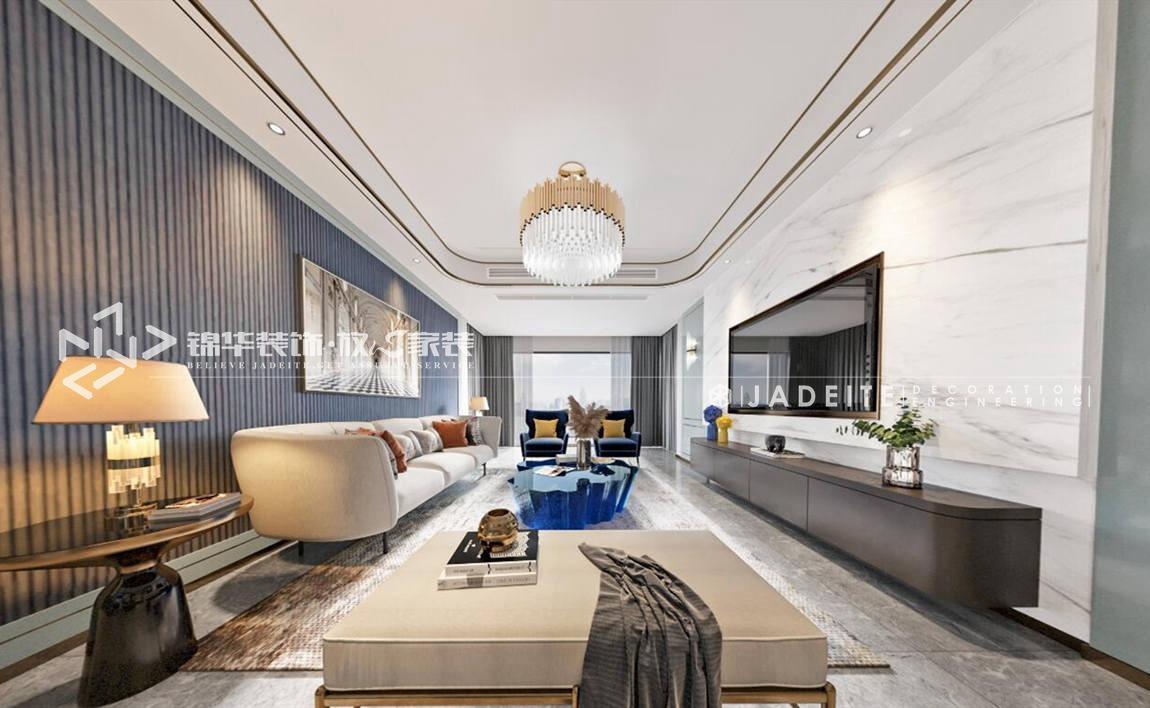 港式轻奢-扬子华都-三室两厅-140平-客厅-装修效果图