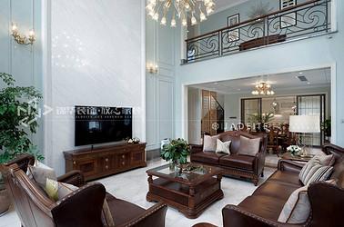 现代美式风格-名豪山庄-别墅-450平-装修实景效果图