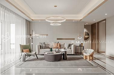 现代轻奢风格-华诚悦府-140平-三室两厅-装修全景效果图