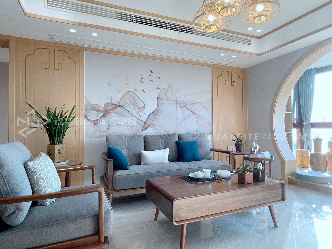 新中式风格-宏建国际-三室两厅-129平-装修实景效果图-客厅