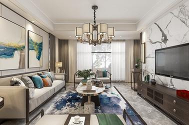 新中式-万科晨阳甲第-三室两厅-140平-装修效果图