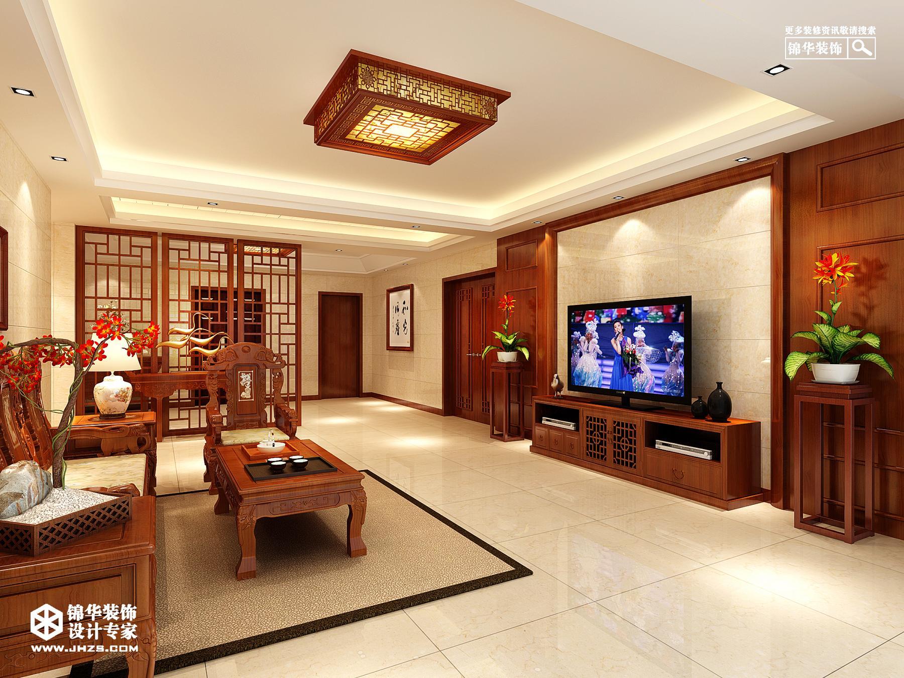 华府天第-中式装修-两室一厅-新中式