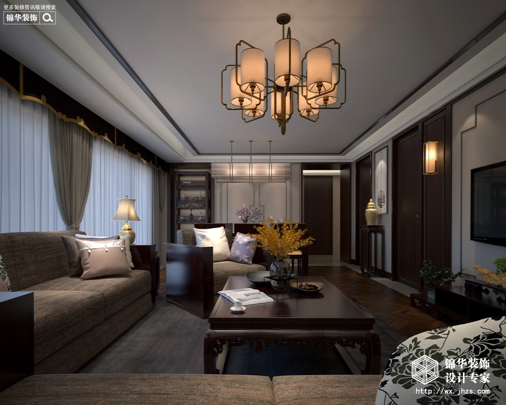 新中式-中海珑玺-三室两厅-148平-装修效果图