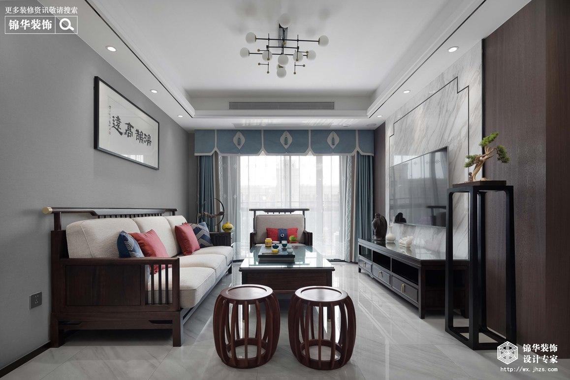 新中式风格-两室两厅-89平-装修实景效果图
