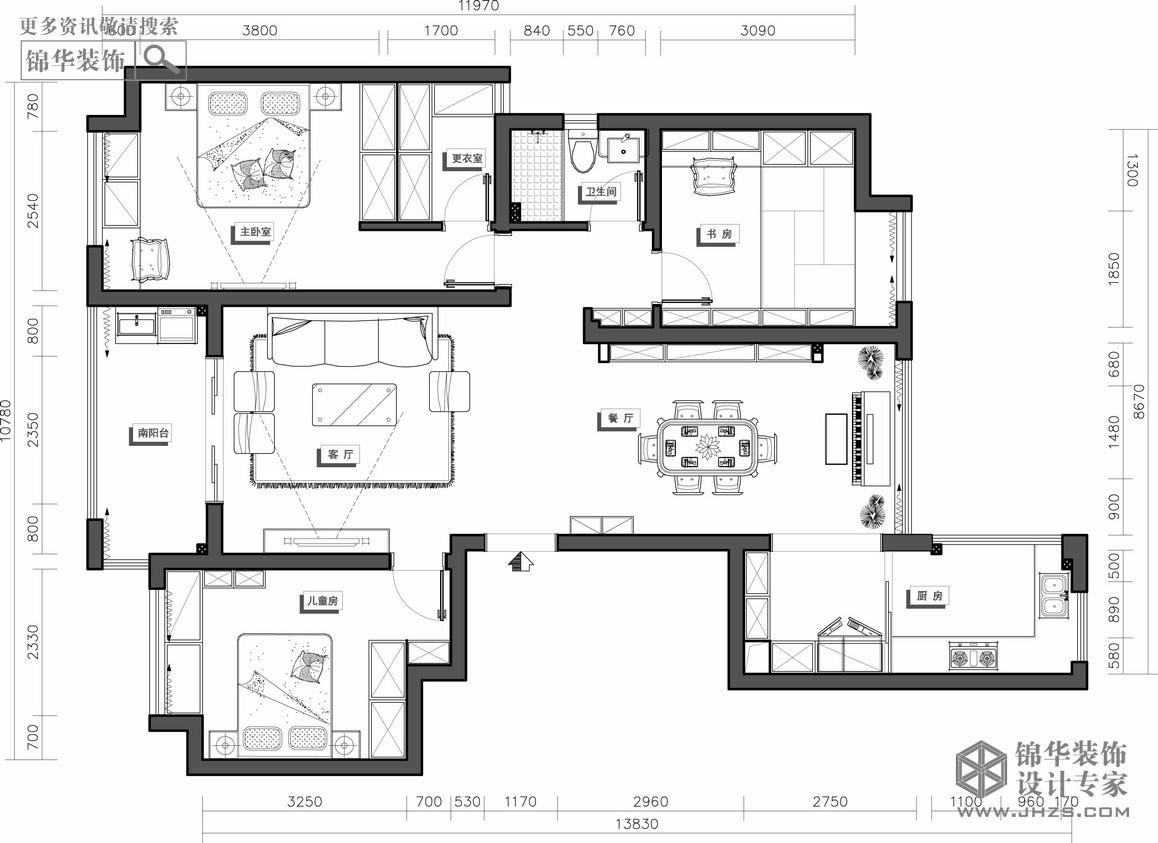 绿地二区装修-两室两厅-简欧