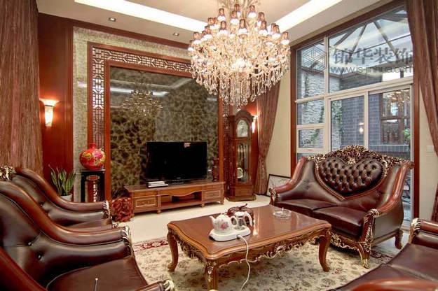 欧式+中式装修-别墅图片大全-混搭风格装修;