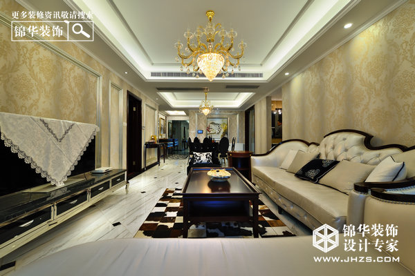 香槟玫瑰-保利香槟国际装修-三室两厅-现代简约