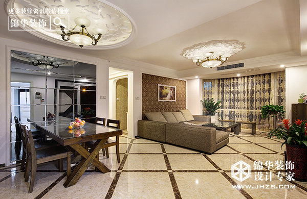 寂静欢喜盎然居-梅花山庄装修-三室两厅-现代简约