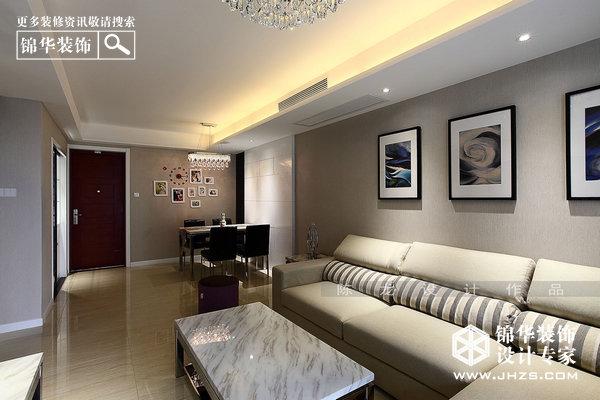 黑白灰调-紫峰公馆装修-三室两厅装修效果图-现代