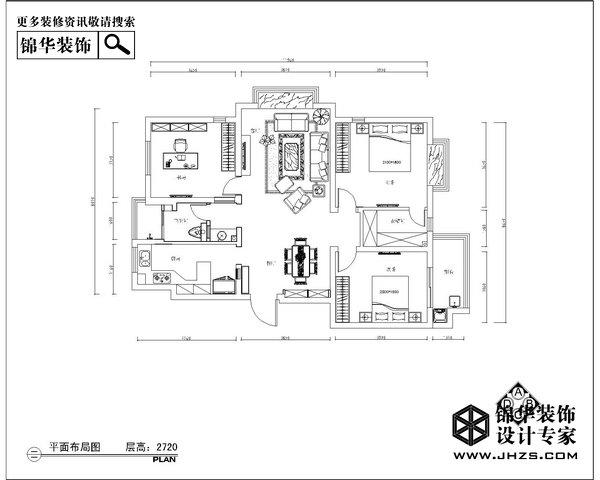 逐花居-鸿运嘉园装修-三室两厅-简欧