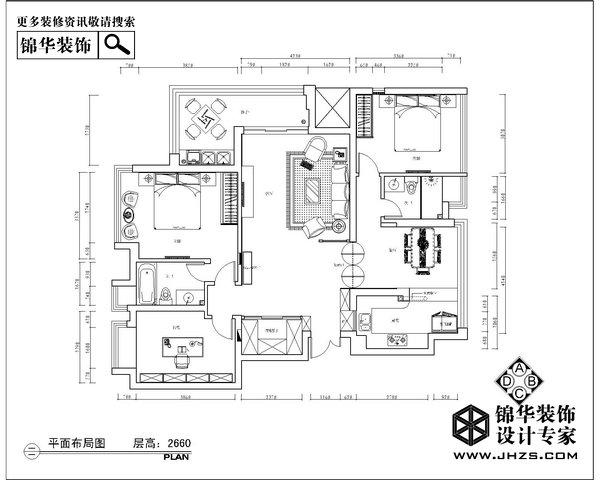 爱尚家-高科荣域装修-三室两厅-简欧