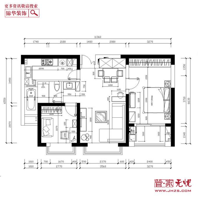 精装简欧2型装修-两室两厅-简欧