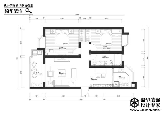 东方城-松林谷花园装修-两室两厅-简欧