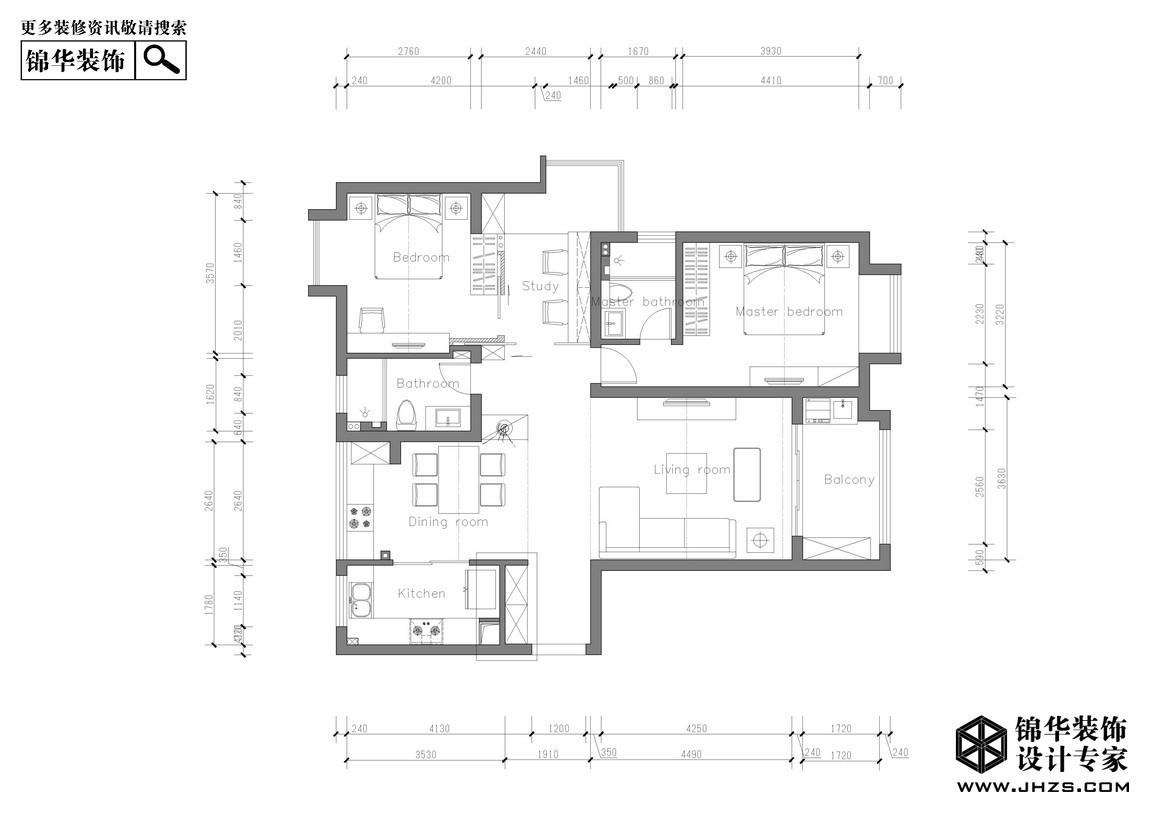 《壹》-旭日上城装修-三室两厅-现代简约