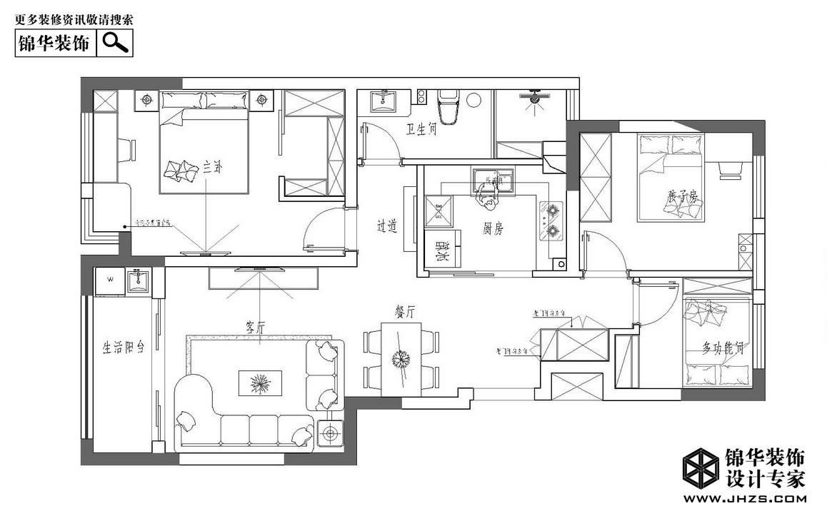 时光机-宏图上水庭院装修-三室两厅-现代简约
