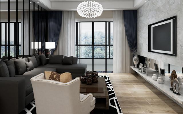 【时光】中垠紫金观邸122平米   现代风格