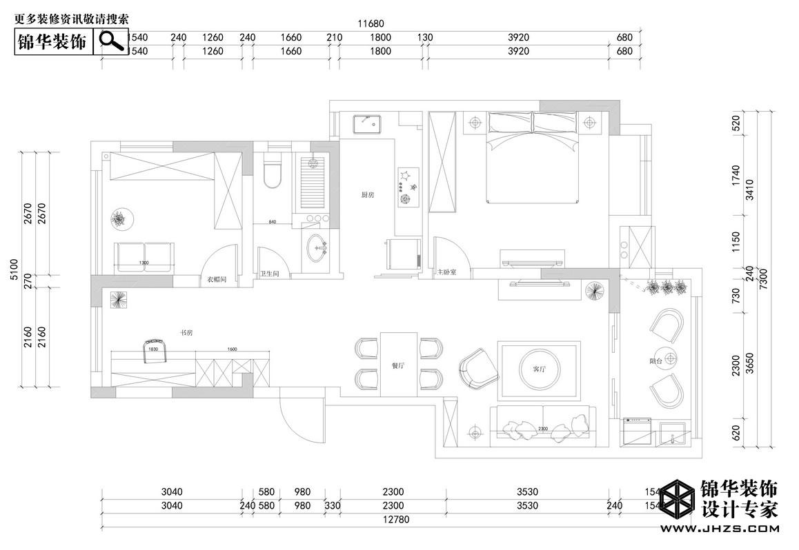 自在且行-奥克斯钟山府装修-三室两厅-现代简约