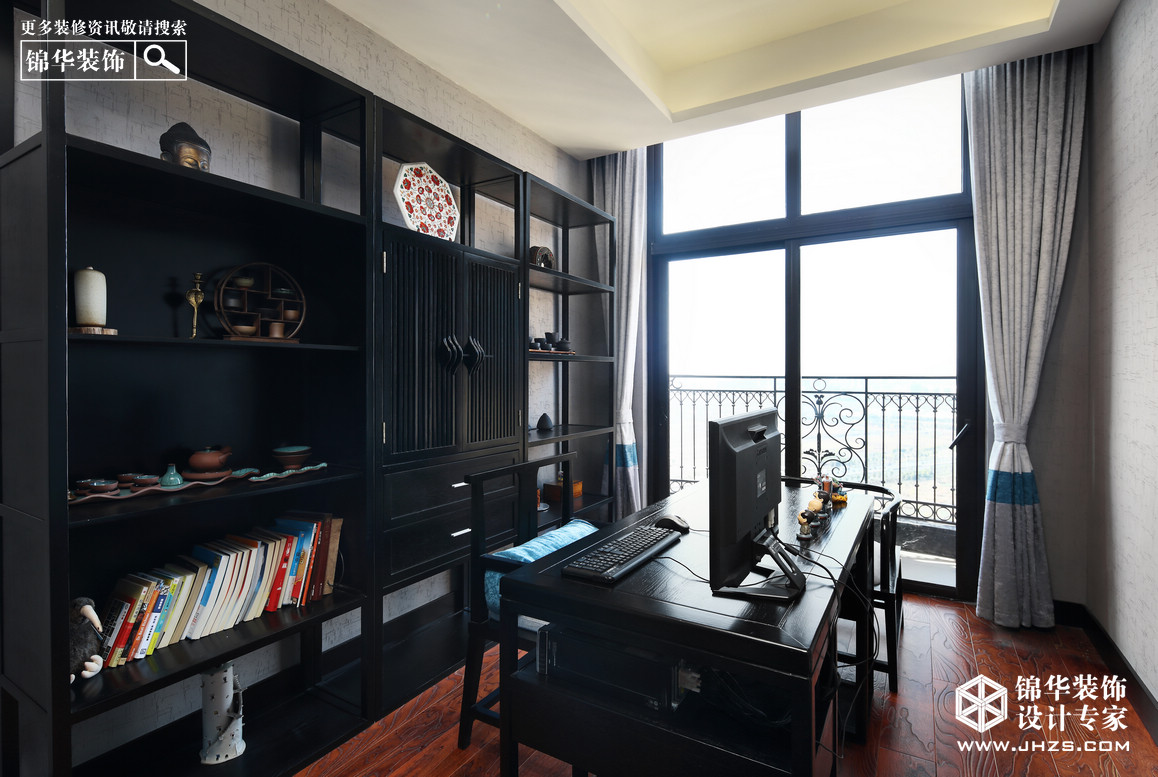 蓝·墨语-雅居乐滨江花园装修-四室两厅-新中式