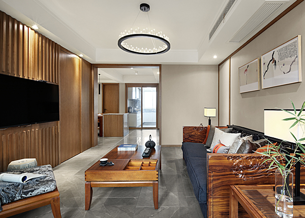 新中式-湖景花园-三室两厅-140平米
