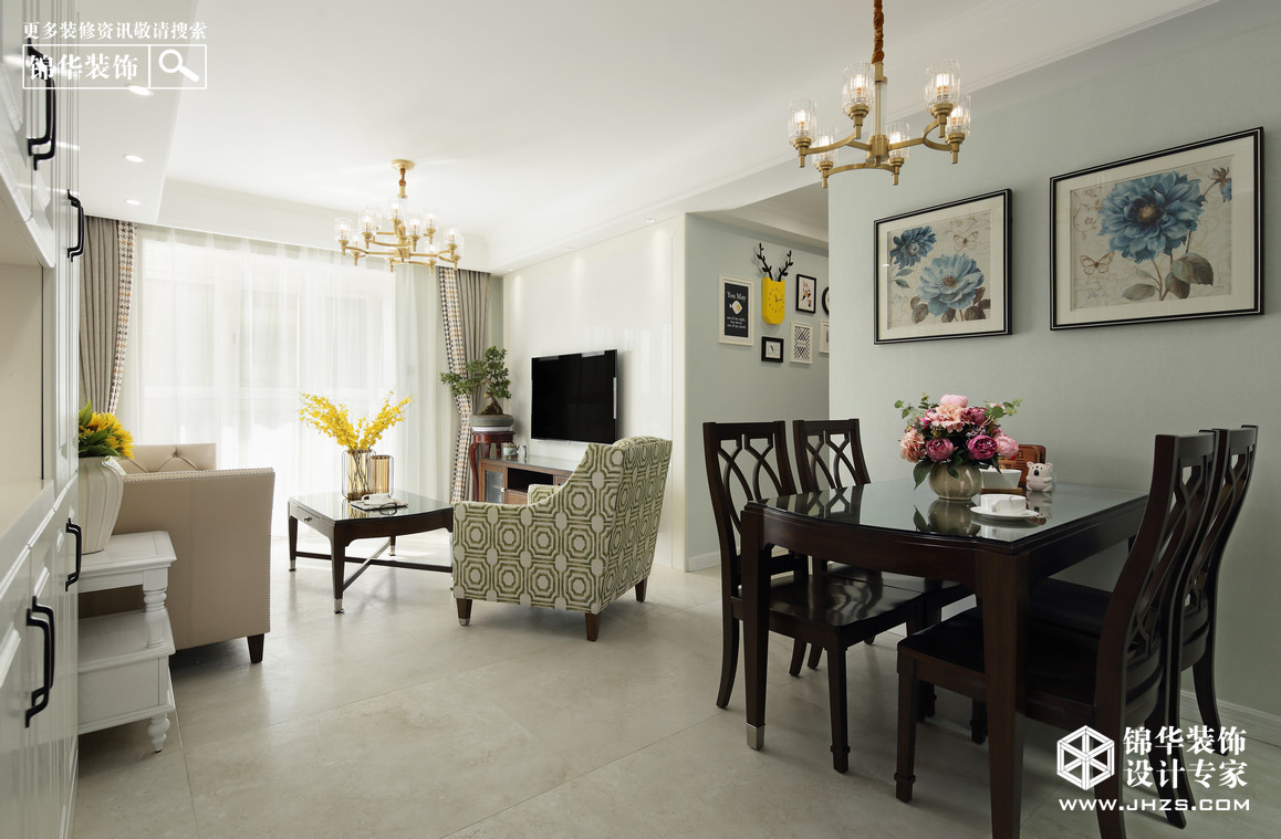 花漾紫郡装修-两室两厅-简美