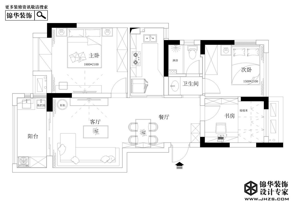 启程-奥克斯钟山府装修-三室一厅-现代简约