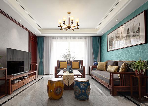 新中式-锦绣华府-三室两厅-125平米