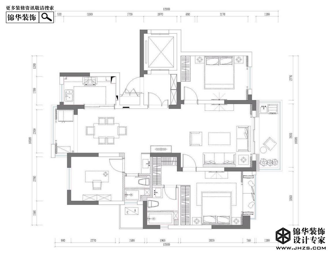 锦绣华府装修-三室两厅-新中式