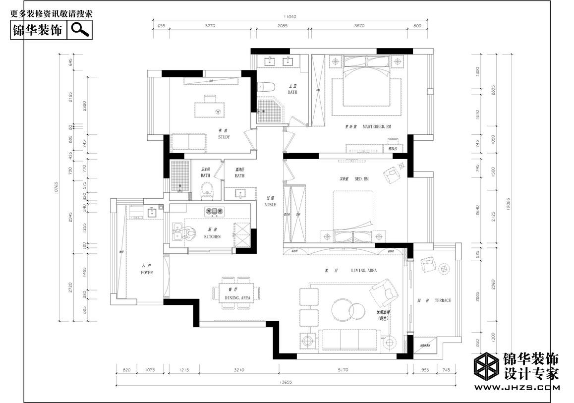 大发燕澜湾装修-三室两厅-简欧