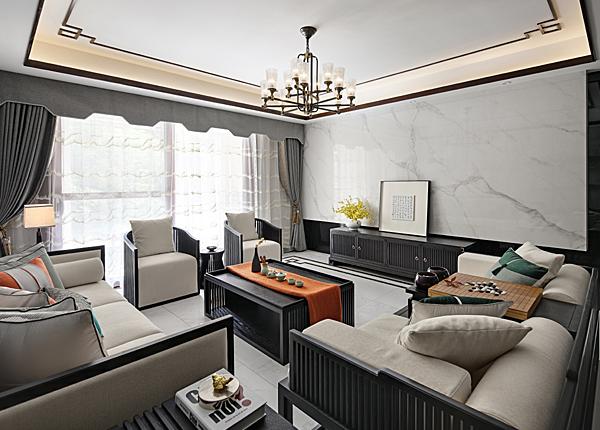 新中式-江佑铂庭-三室两厅-122平米