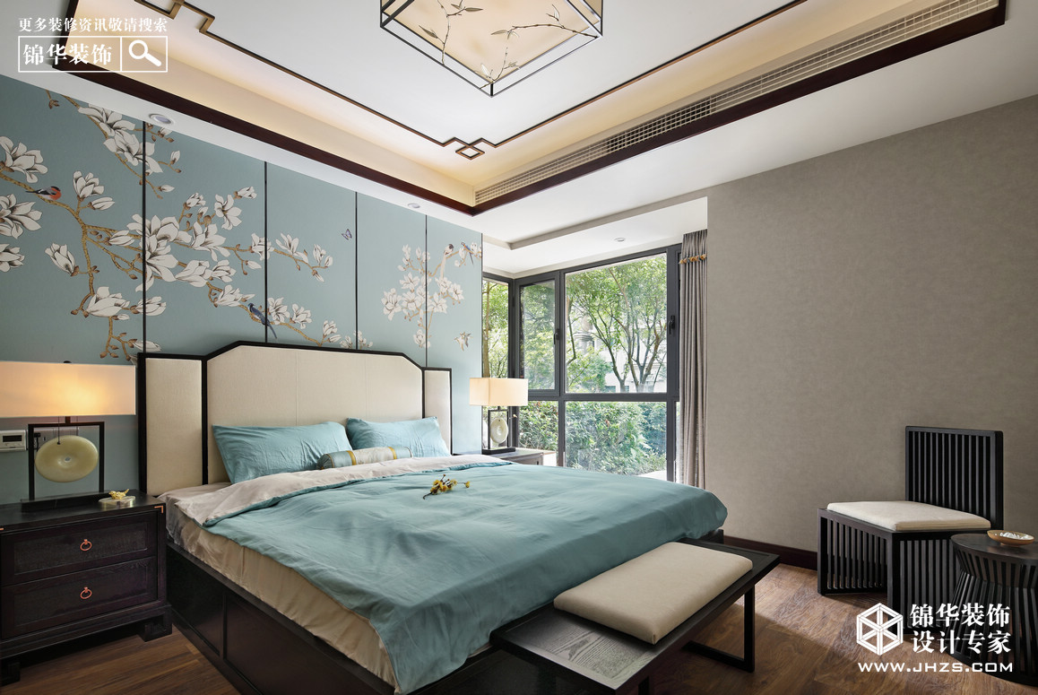 新中式-江佑铂庭-三室两厅-122平米装修-三室两厅-新中式