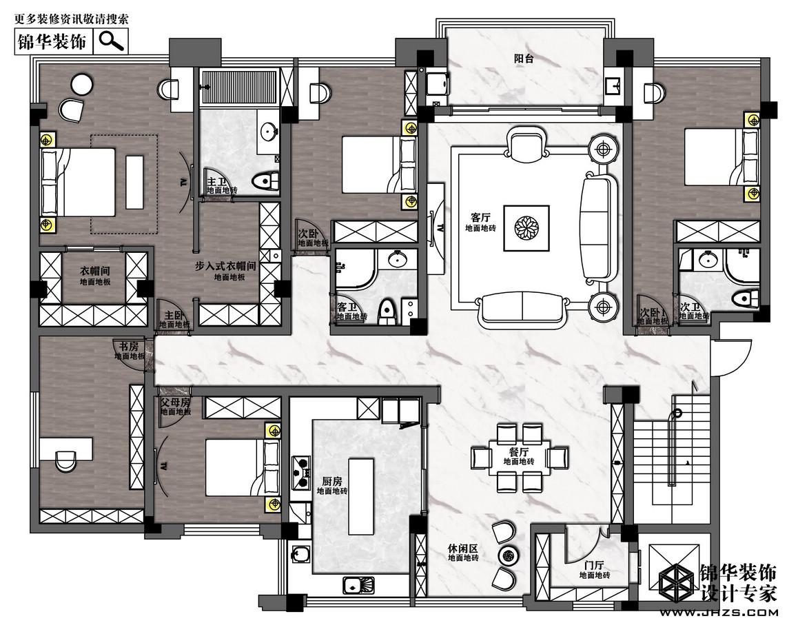 混搭-五礦·九璽臺-四室兩廳-266㎡裝修-四室兩廳-混搭