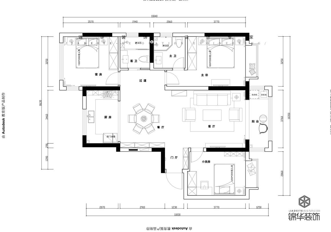 轻奢-大名城紫金九号-三室两厅-128㎡装修-两室两厅-轻奢
