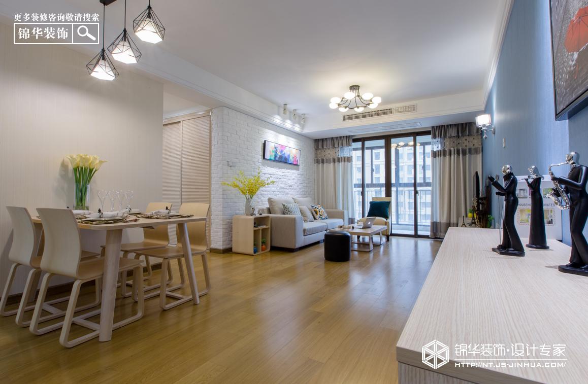 华润悦景湾120平现代简约风格实景图装修-三室两厅