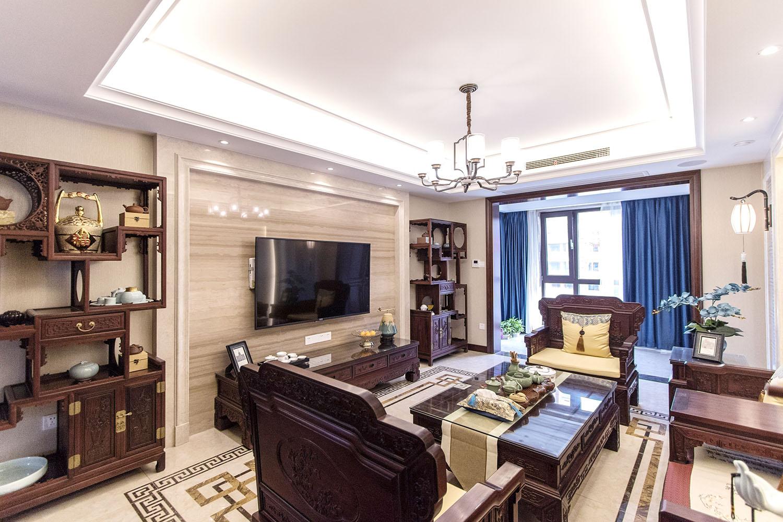 九里香堤 200平米四室两厅新中式装修实景案例