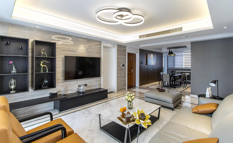 翠湖湾—180平面现代简约风格房子效果图—装修实景案例