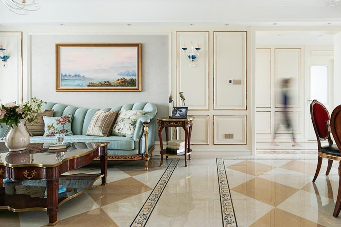 【全案设计4.0】实景推荐|宝石蓝+香槟金点缀,配色让136㎡的三口之家时尚感满满!