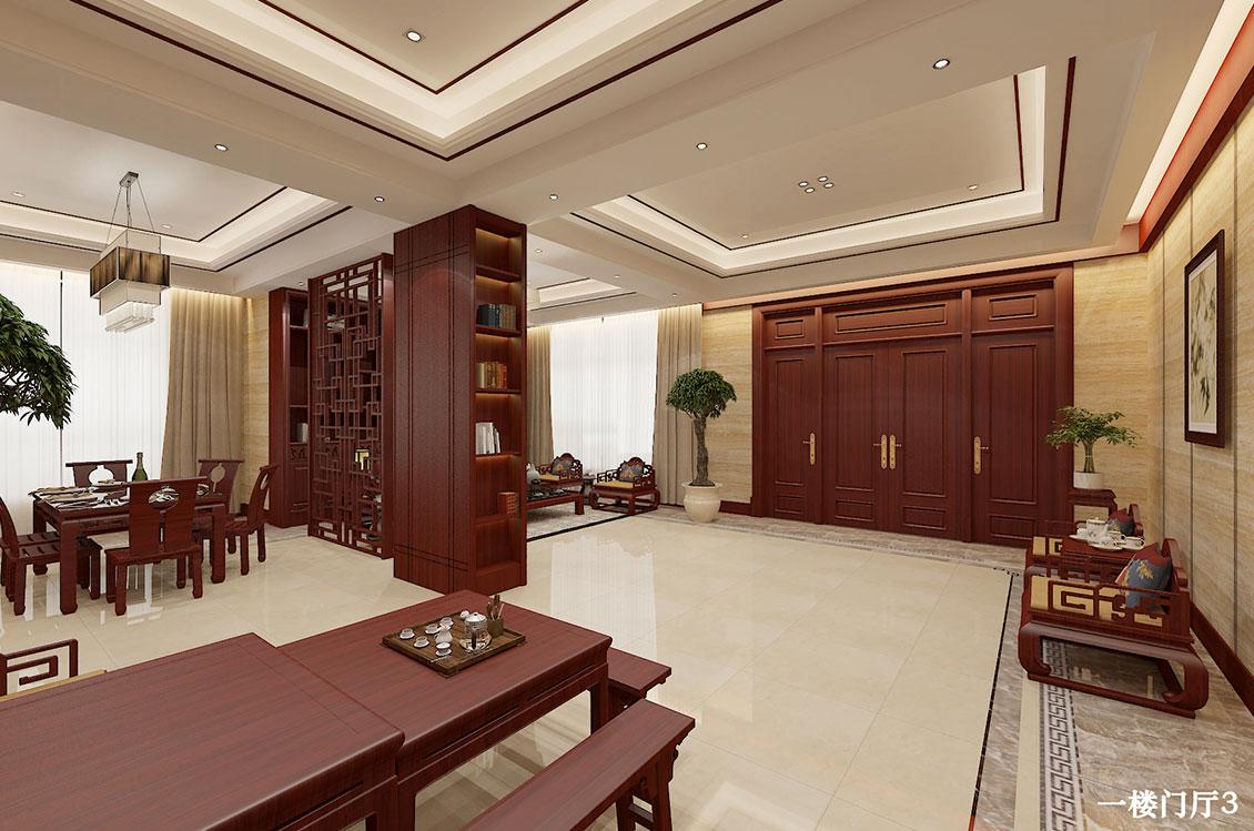 自建别墅—750平—新中式风格效果图