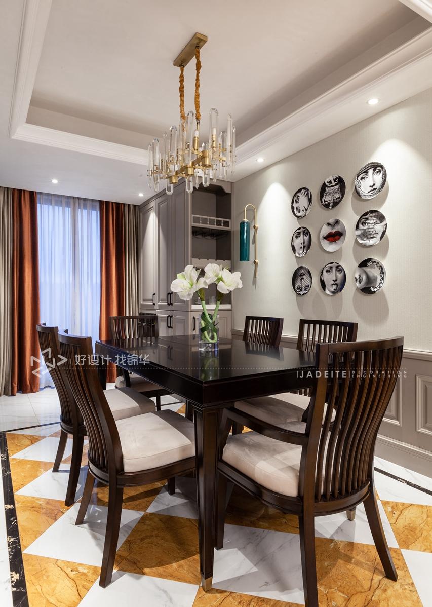 美式风格 三室两厅 翡翠华府 140平米装修-三室两厅-简美