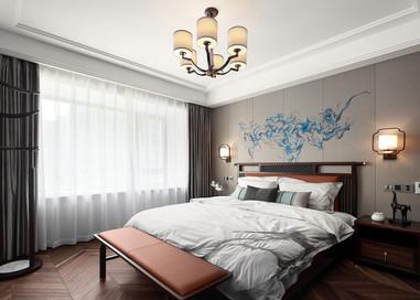 新中式风格- 城山隐 -140平米三室两厅
