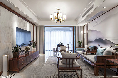 新中式风格  九里香堤  三室两厅 140平米装修设计