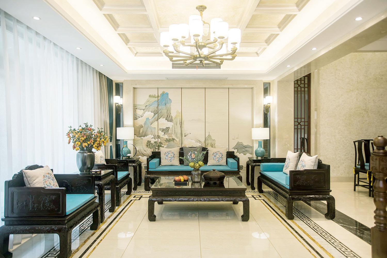 新中式风格  翡翠心湖 南通别墅装修300平米