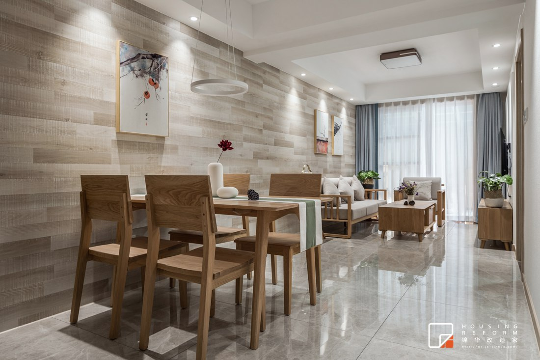 南通老房改造翻新-新中式风格-两室两厅-90平米装修