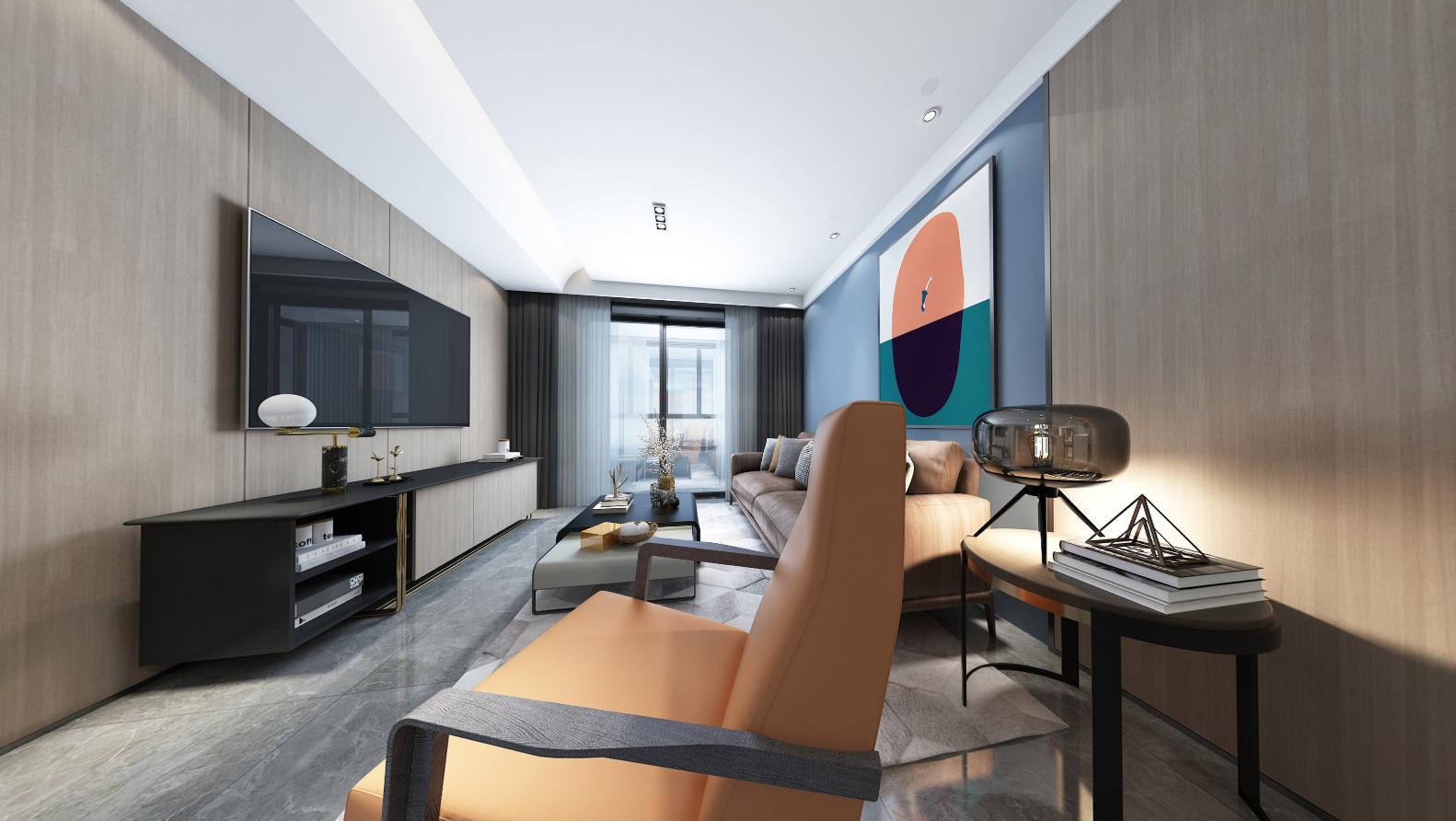 现代风格  星光域  三室一厅一卫 96平米装修设计