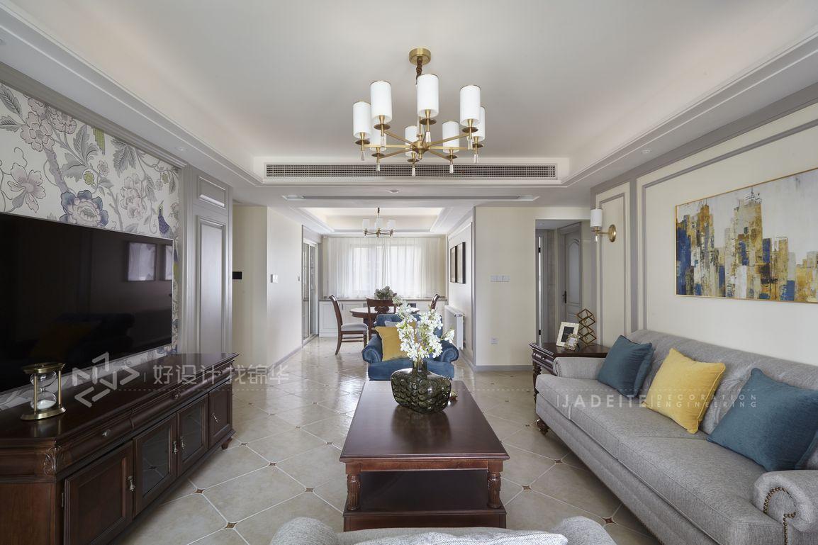 简约美式-万科大都会 -125平米  三室两厅装修-三室两厅-简美
